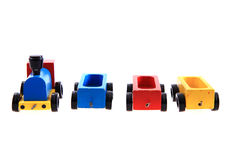 Old wooden train toy Stock Images