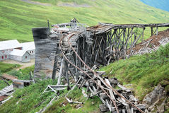 Old wooden train track at Independence gold Mine, Alaska Stock Images