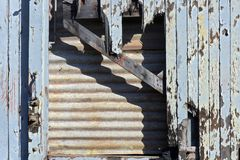 Old wooden train wagon abandoned. Next to the station royalty free stock image