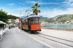 Old Wooden Tram in Port De Soller Stock Photos