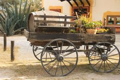 Old wooden transport with wine barrel. And cactus on the back stock photography
