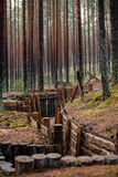 old wooden trenches in Latvia royalty free stock image