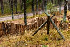 old wooden trenshes in Latvia royalty free stock photo