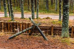 old wooden trenshes in Latvia stock photography