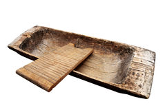 Old wooden trough and washboard on a white Royalty Free Stock Photo