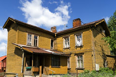 Old wooden two storey house Stock Photo
