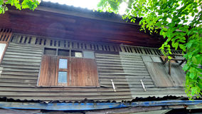 Old wooden two storey row house Stock Photography