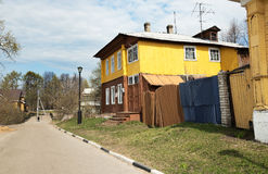 Old wooden two story house in Gorodets Stock Photo