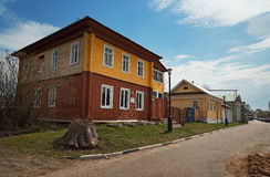 Old wooden two story house in Gorodets Royalty Free Stock Image