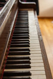 Old wooden upright piano keyboard. In the hallway Royalty Free Stock Photography