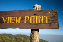 Old wooden viewpoint sign Royalty Free Stock Photography