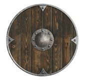 Old wooden vikings shield isolated 3d illustration. Old wooden vikings shield isolated on white Stock Photos