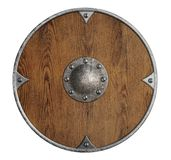 Old wooden vikings' shield isolated stock photos