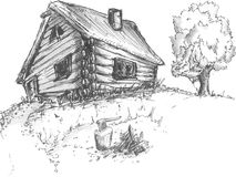 Old wooden village house with tree. Sketch the outline of an old wooden village house with tree and woodpile Royalty Free Stock Image