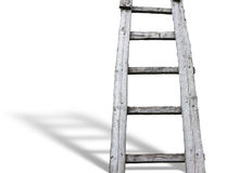 Old wooden vintage cuve ladder with shadow over white Stock Photography