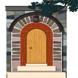 Old wooden vintage door with stone arch. Vector illustration Stock Photography