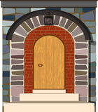 Old wooden vintage door with stone arch . Old wooden vintage door with stone arch. vector illustration Royalty Free Stock Images
