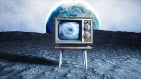 Old wooden vintage TV on the moon. Earth background. Space concept. Broadcast. 3d rendering. Old wooden vintage TV on the moon. Earth background. Space concept Stock Photo