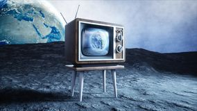 Old wooden vintage TV on the moon. Earth background. Space concept. Broadcast. 3d rendering. stock illustration