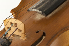 Old wooden violin detail Royalty Free Stock Photography
