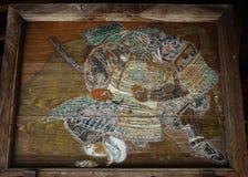 Old wooden votive tablet of samurai warrior, Kyoto Japan. Stock Photo