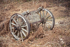 Old wooden wagon on dry grass Royalty Free Stock Image