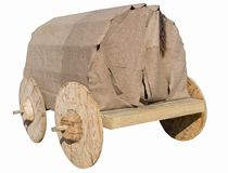 Old wooden wagon isolated on white. Background Royalty Free Stock Photos