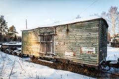 Old wooden wagon narrow gauge railway Royalty Free Stock Photo