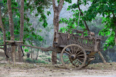 Old wooden wagon Thai style. Used to transport people and things Royalty Free Stock Images