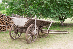 Old Wooden Wagon in the Village. Old Wooden Wagon in the Village extreme closeup Royalty Free Stock Photo