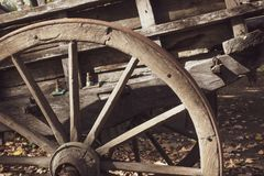 Old Wooden Wagon Wheel. The Old Wooden Wagon Wheel royalty free stock photography