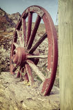The old wooden wagon wheel Royalty Free Stock Photo
