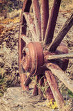 The old wooden wagon wheel Royalty Free Stock Images