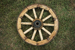 Old wooden wagon wheel. On the grace Royalty Free Stock Images