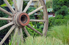 Old wooden wagon wheel Royalty Free Stock Image