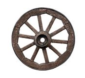 Old wooden wagon wheel isolated on white Royalty Free Stock Photography