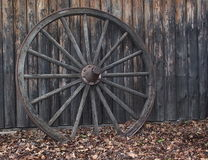 Old Wooden Wagon Wheel Stock Photo