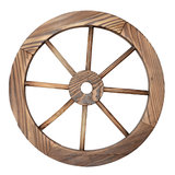 Old wooden wagon wheel on white. One old wooden wagon wheel on white Stock Images