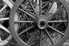 Old Wooden Wagon Wheels. In Grayscale Royalty Free Stock Photography