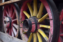 Old wooden wagon wheels in the workshop Royalty Free Stock Image