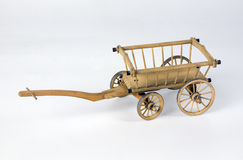Old wooden wagon. On white background Royalty Free Stock Photo
