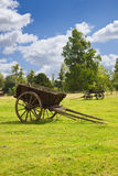 Old wooden wagons in the meadows Stock Photography