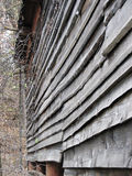 Old wooden wall. Wall of old wooden barn in the autumn royalty free stock photography