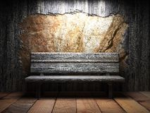 Old wooden wall and bench Royalty Free Stock Photography
