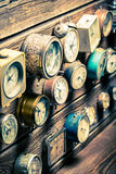 Old wooden wall with clocks. Closeup of old wooden wall with clocks royalty free stock images