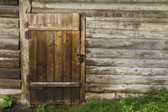 Old wooden wall and door Stock Photo