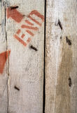 Old wooden wall. Have nail arrow and letter on it Royalty Free Stock Images