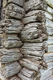 Old wooden wall made of brown logs Royalty Free Stock Image