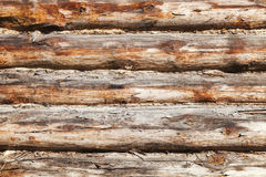 Old wooden wall made of logs, photo texture Royalty Free Stock Photography
