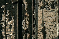 Old wooden wall with old peeled-off paint Royalty Free Stock Image
